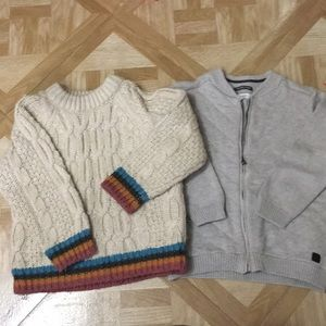Zara tan sweater and tan/grey jacket 3-4 boys